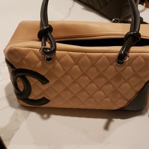 Chanel chambion bag beige and black